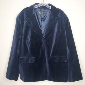 Terry Lewis Blue Velvet Blazer 24W